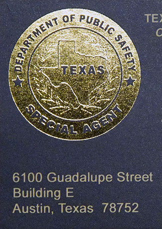 Texas Department of Public Safety Foil Business Card Sample