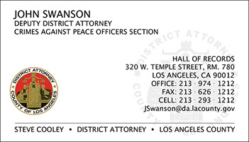 LA County District Attorney Full Color Raised Ink Business Card