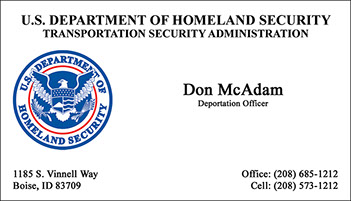 Department of Homeland Security, Transportation Security Administration Full Color Raised Ink Business Card