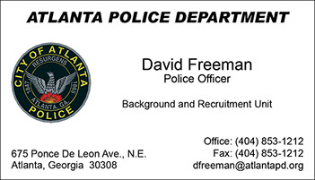 Atlanta Police Department Full Color Raised Ink Business Card