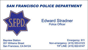 San Francisco Police Department raised ink business card