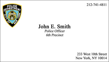 New York City Police Department raised ink business card
