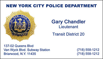 New York City Police Department foil business card sample - Lieutenant