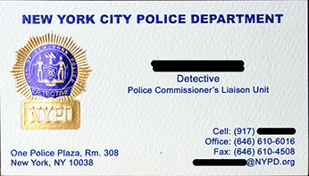New York City Police Department foil business card sample - Detective