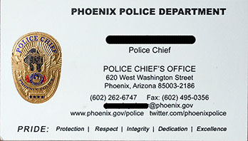 Phoenix Police Department foil business card for Police Chief.